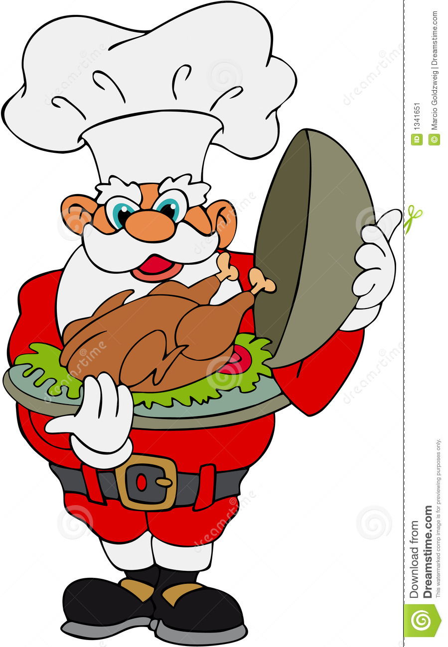 Santa Claus With Christmas Turkey Stock Vector.