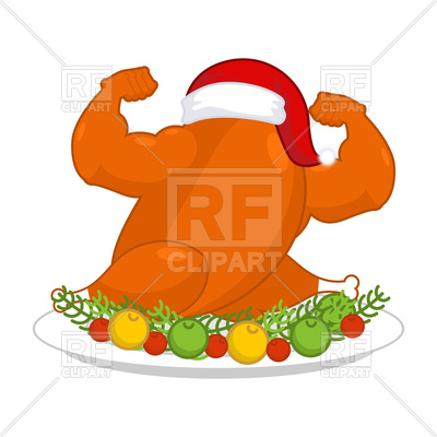 Christmas turkey strong in santa red cap Vector Image.