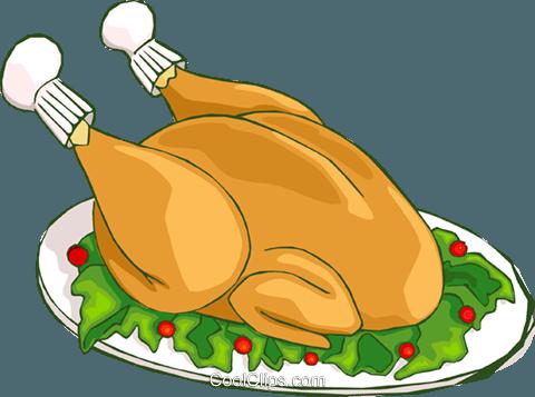 Christmas turkey dinner Royalty Free Vector Clip Art illustration.