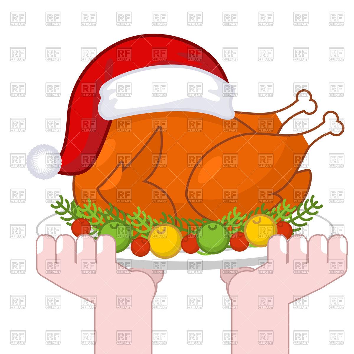 Christmas turkey in Santa Claus cap Stock Vector Image.