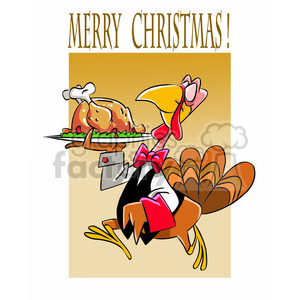 turkey serving christmas dinner clipart. Royalty.