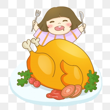 Cartoon Thanksgiving Turkey Delicious Christmas Food, Cartoon.