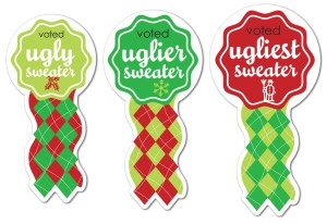 Printable Ugly Sweater Winner Ribbons Template.