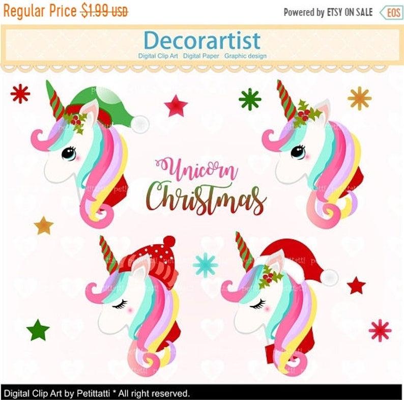 Christmas Unicorn Clipart, Christmas Unicorns Clip art ,cute Pony, Cute  Christmas Horse Clip art, Scrapbook, Unicorn head Christmas.