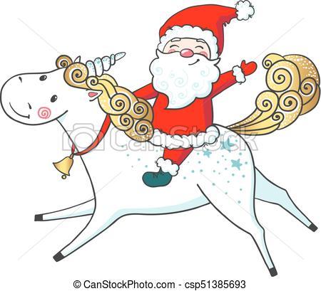 Hand drawn cute Unicorn and Santa Claus..