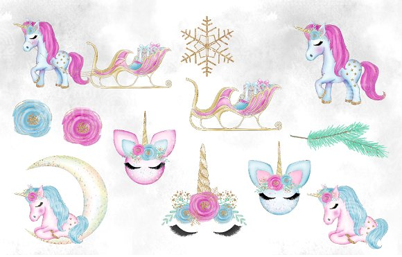 Christmas Unicorn Clipart collection.
