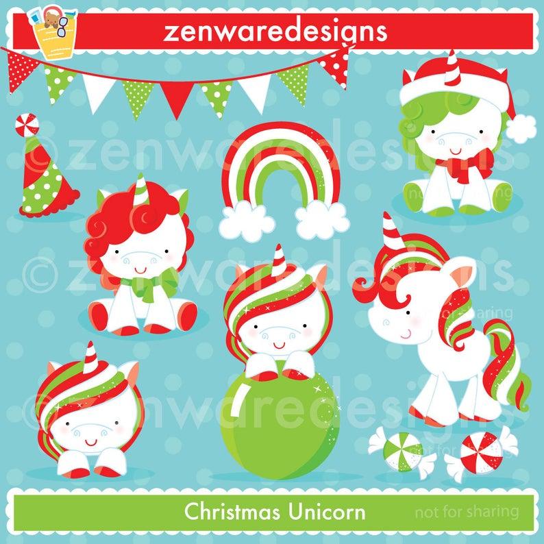Christmas Unicorn Clipart.