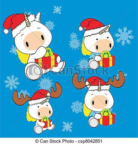unicorn baby cartoon Christmas set.