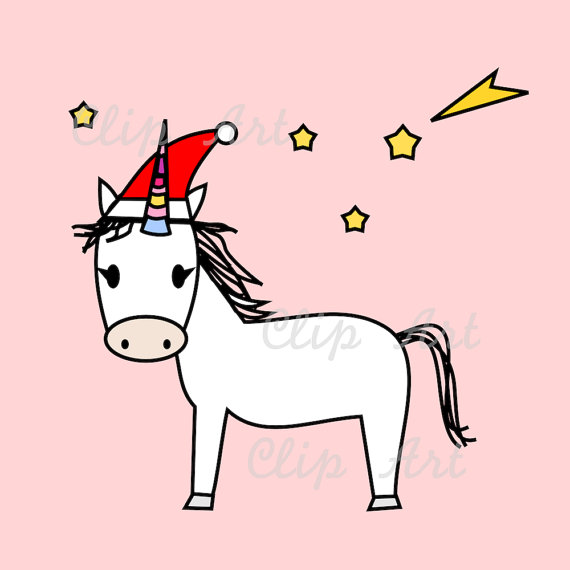 Christmas Unicorn Clip Art Instant Download Unicorn With.