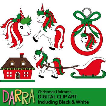 Christmas Unicorns Clip Art.