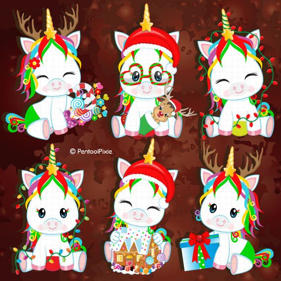 Christmas clipart, Christmas unicorn clipart, Christmas babies.