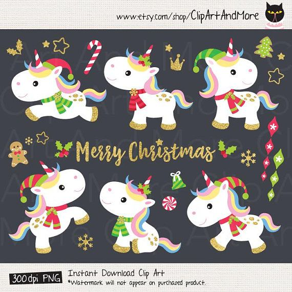Christmas Unicorn Clipart Unicorn Christmas Clipart Cute Christmas.