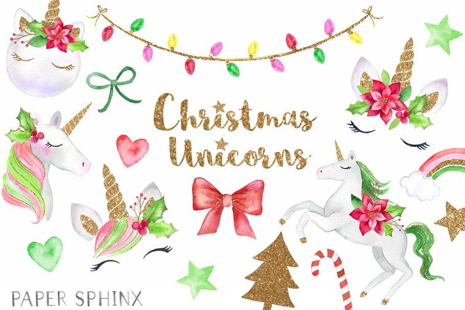 Christmas Unicorns Clipart Pack.