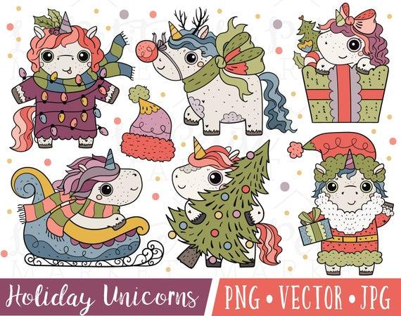 Cute Christmas Unicorn Clipart Images, Unicorn Santa Clipart, Cute Holiday  Unicorns Clipart for Commercial Use, Cute Unicorn Clipart Set.