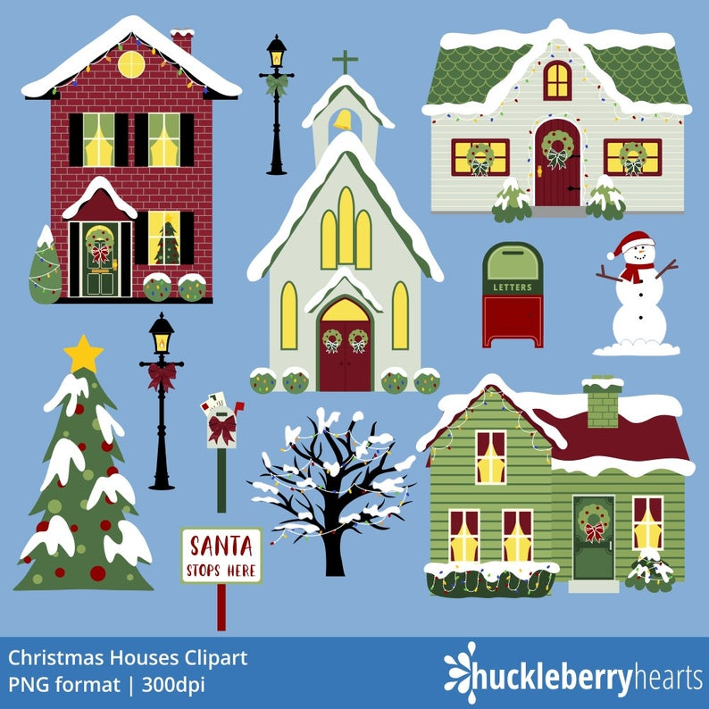 Christmas Houses Clipart, Christmas Village Clipart, Christmas Clipart,  Printable, Commercial Use.