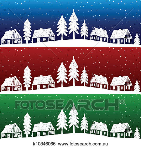 Christmas village with snow seamless pattern Clip Art.