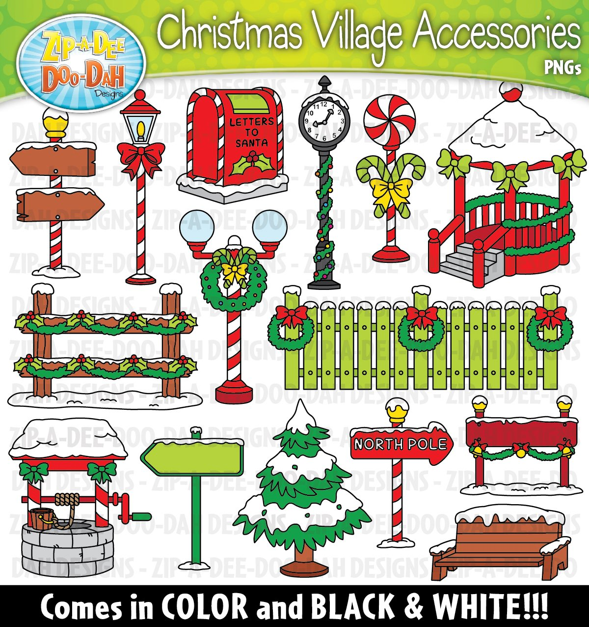 Christmas Village Props Clipart Set.