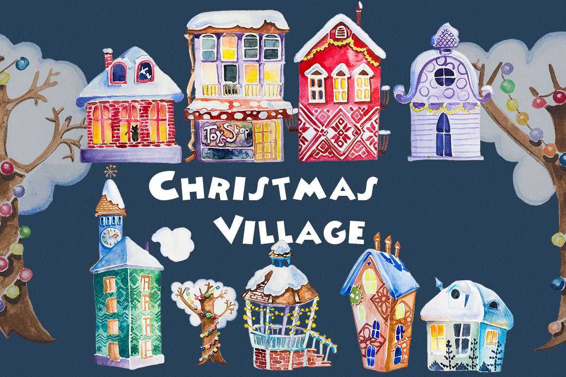 Watercolor Christmas Village Clipart.