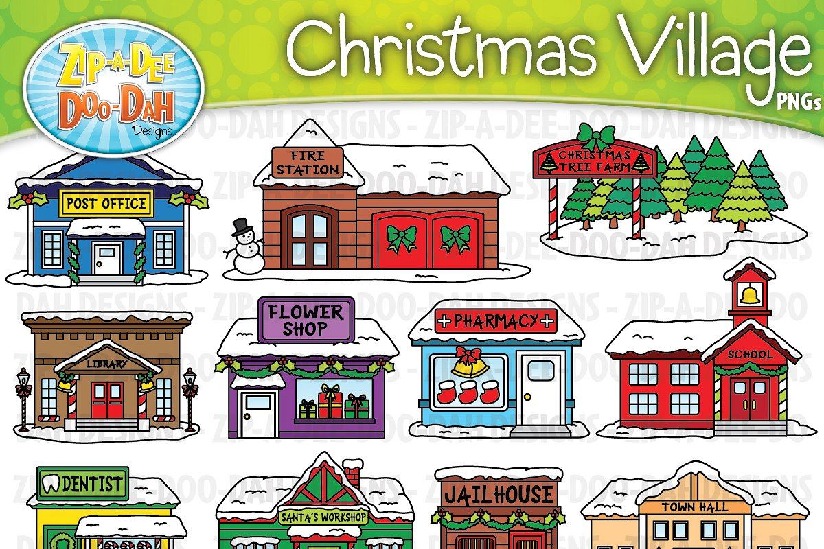 Christmas Village Buildings Clipart.