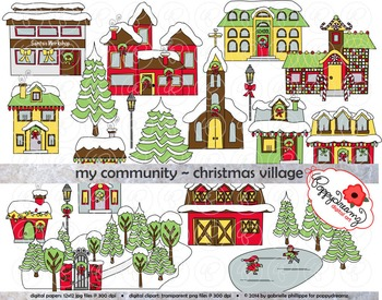 My Community Christmas Village Clipart by Poppydreamz.