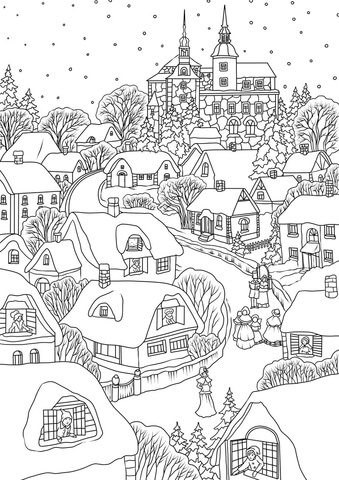 Snowy Village on Christmas Eve coloring page.
