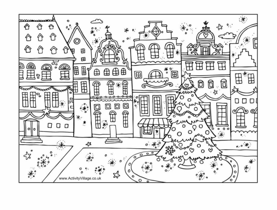 Christmas Village Coloring Page.