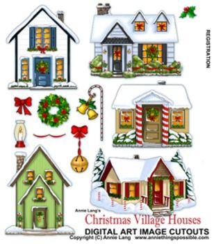 christmas village clipart.