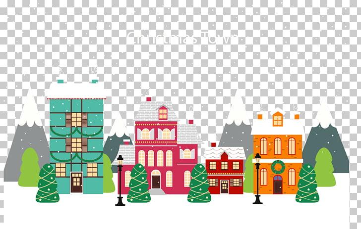 Christmas village Illustration, Festive atmosphere of a.