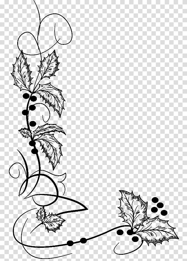 Christmas ornaments brushes, black floral vine transparent.