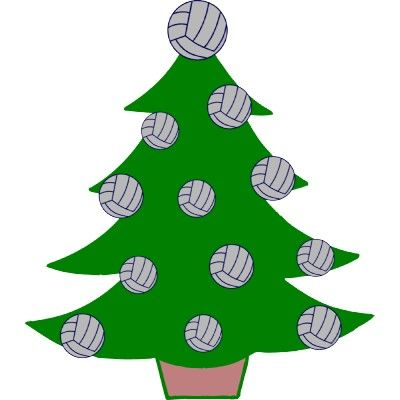 volleyball clipart of a christmas tree with volleyball.