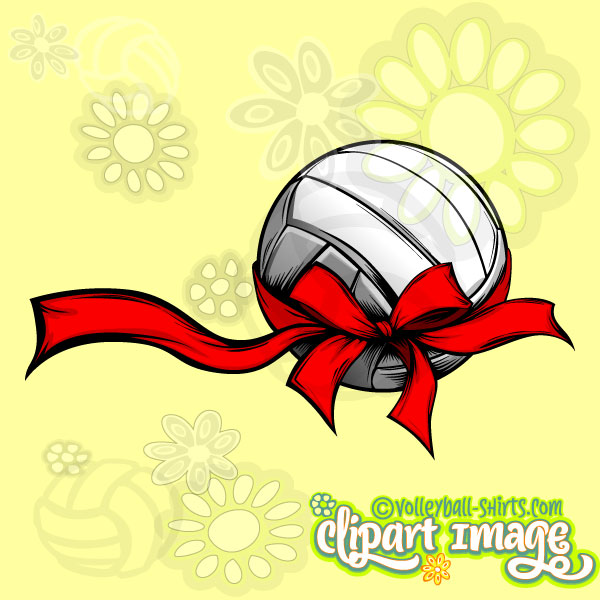 Volleyball With Holiday Ribbon.