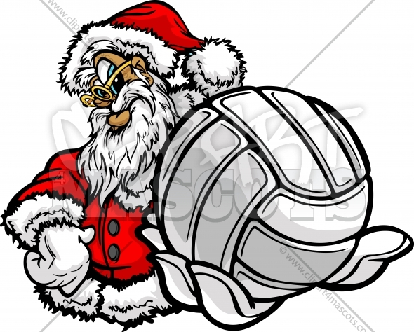 Volleyball Santa Clipart Graphic Vector Christmas Image.