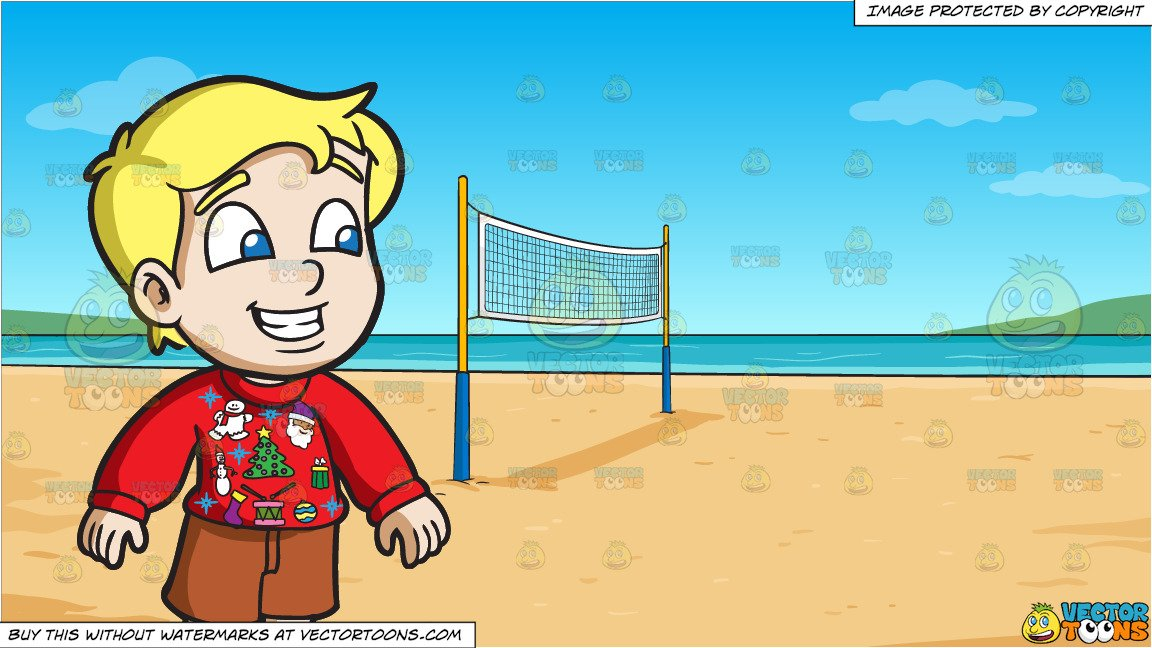 A Curious Boy In An Ugly Christmas Sweater and Beach Volleyball Background.