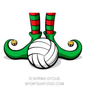 Volleyball Christmas Elf Feet.