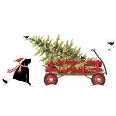 Watercolor Christmas Truck, Vintage Red Pickup, Pine Tree, Retro.