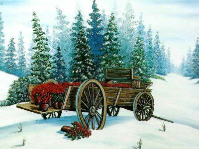 Christmas Wagon Clipart.