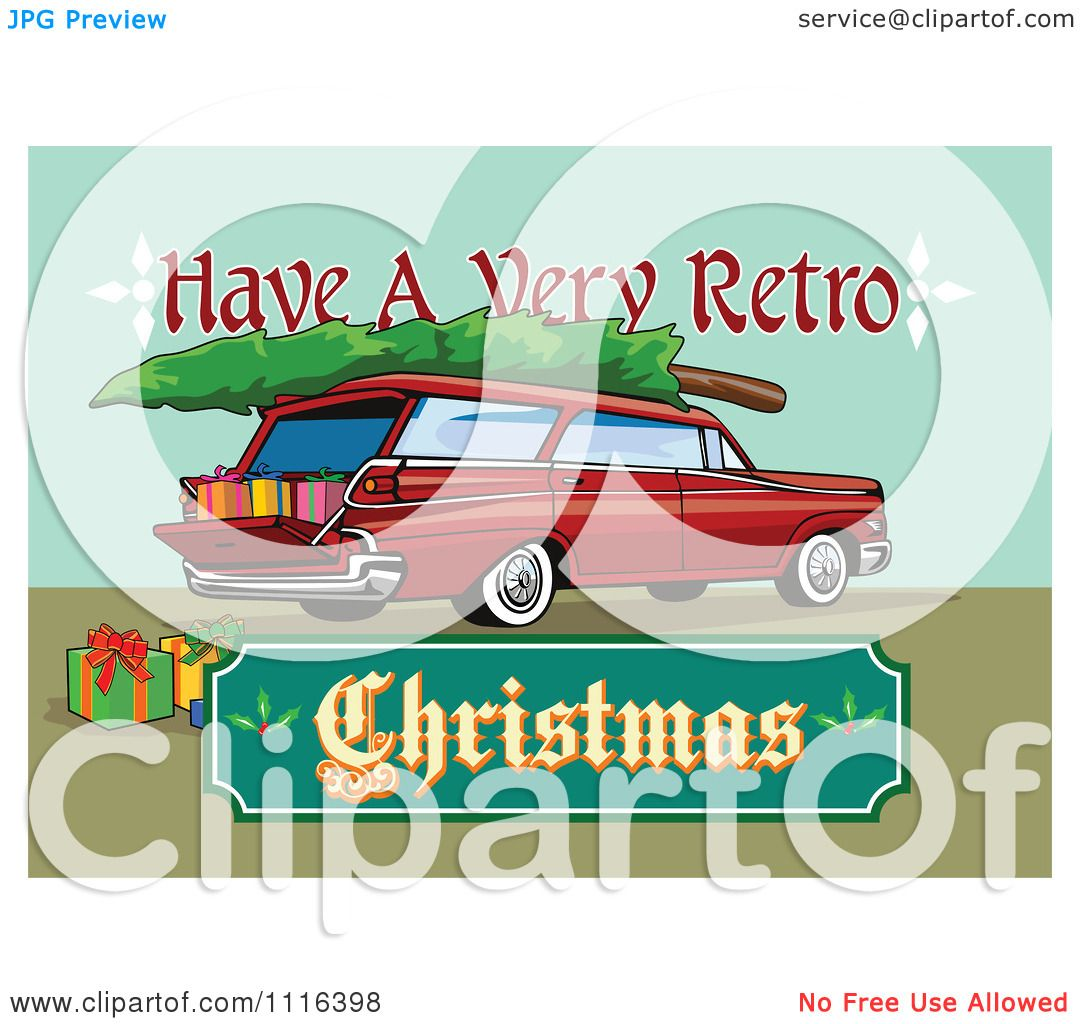 Clipart Retro Station Wagon With Presents A Tree And A Christmas.