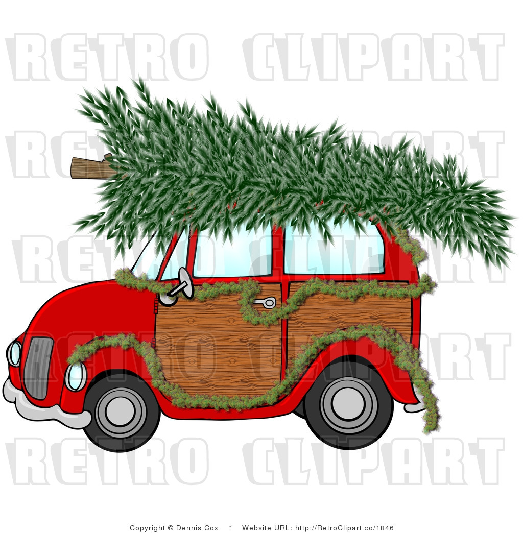 Christmas Tree On Station Wagon Clipart.