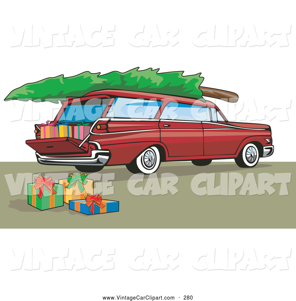 Clipart of a Retro Old Fashioned Red Station Wagon with a.
