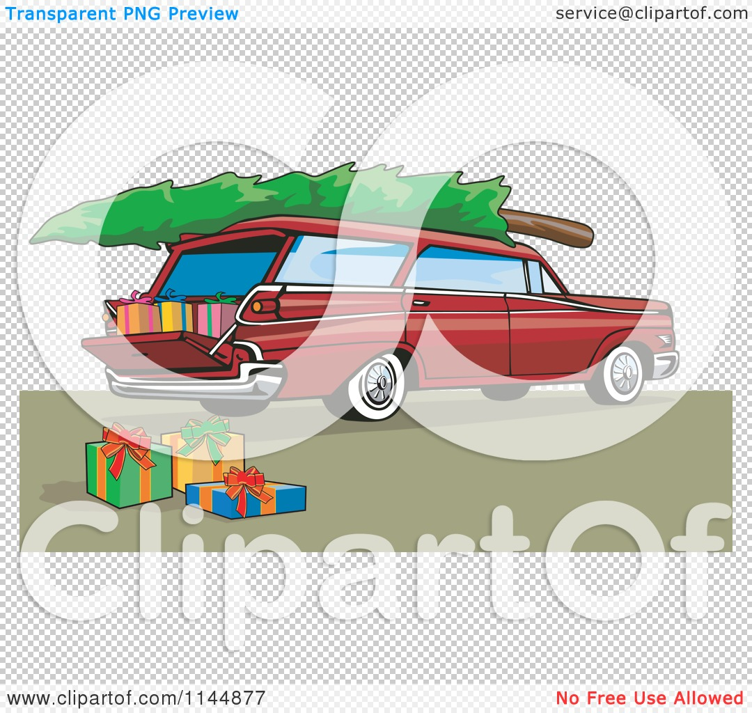 Clipart of a Retro Red Station Wagon with a Christmas Tree and.