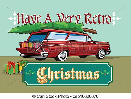 Vintage station wagon with christmas tree clipart.