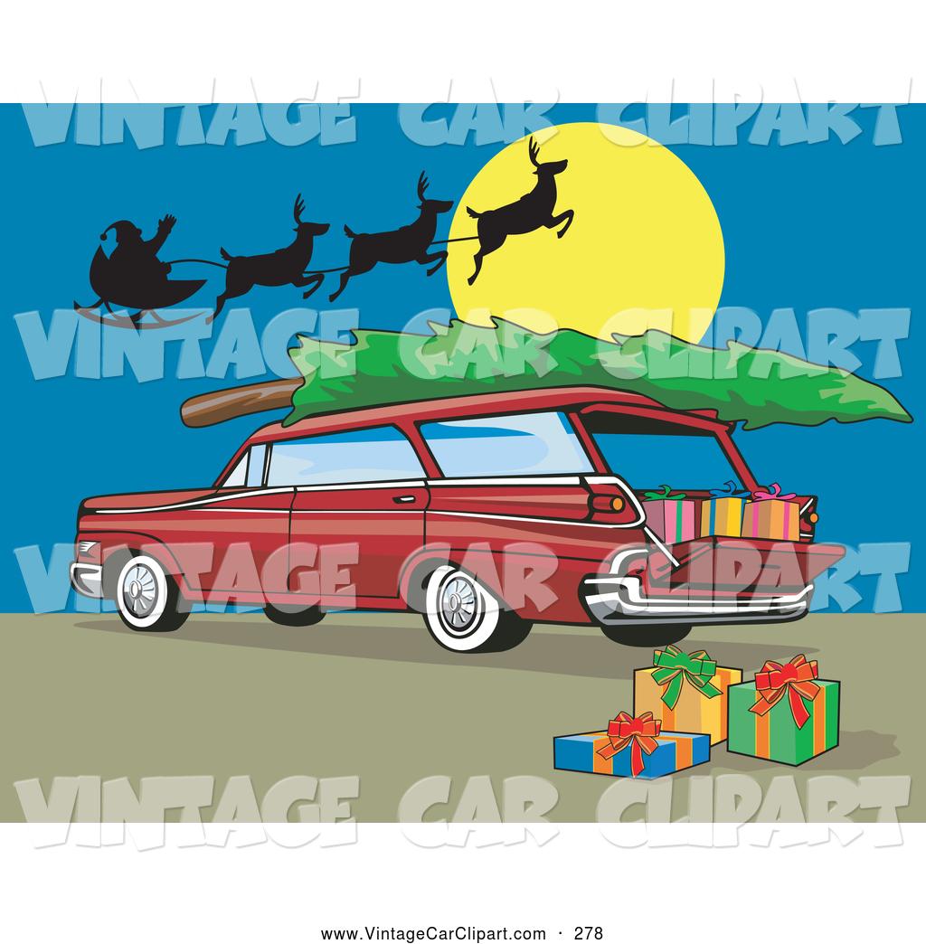 Royalty Free Christmas Station Wagon Stock Vintage Car Designs.
