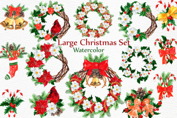 Large Christmas Watercolor Clipart Set.