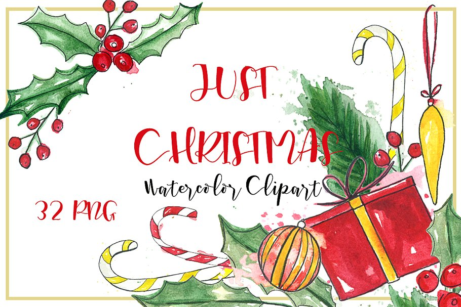 Just Christmas. Watercolor clipart..