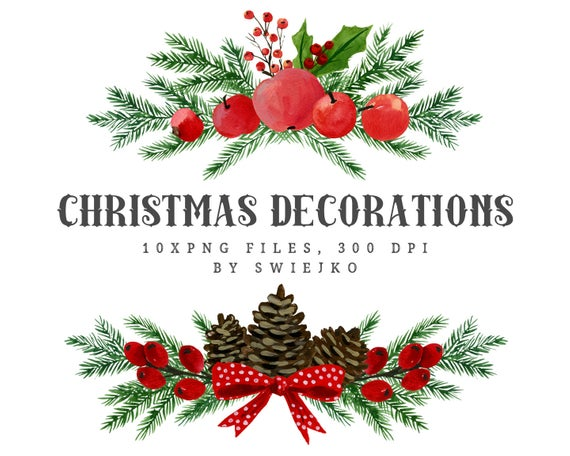 Christmas Watercolor Clipart, Holiday decoration, Christmas bouquet, Divider.