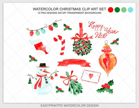 Christmas Watercolor Clipart, Xmas Noel Clip Art, Hand painted snowman  illustration image, PNG, Digital Christmas pattern, EasyPrintPD.