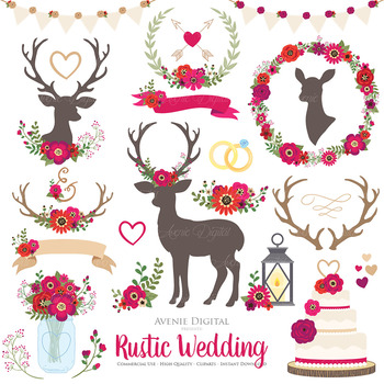 Red Rustic Wedding Clipart.