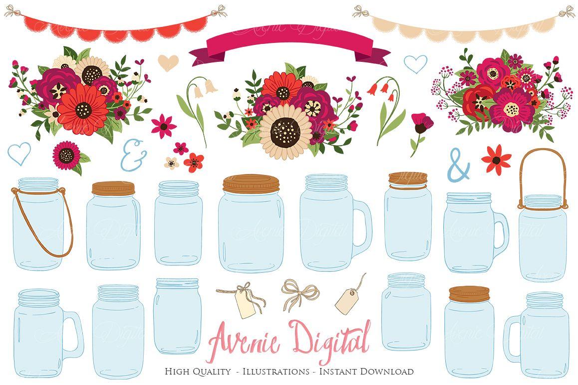 Red Christmas Floral Mason Jar Wedding Clipart.