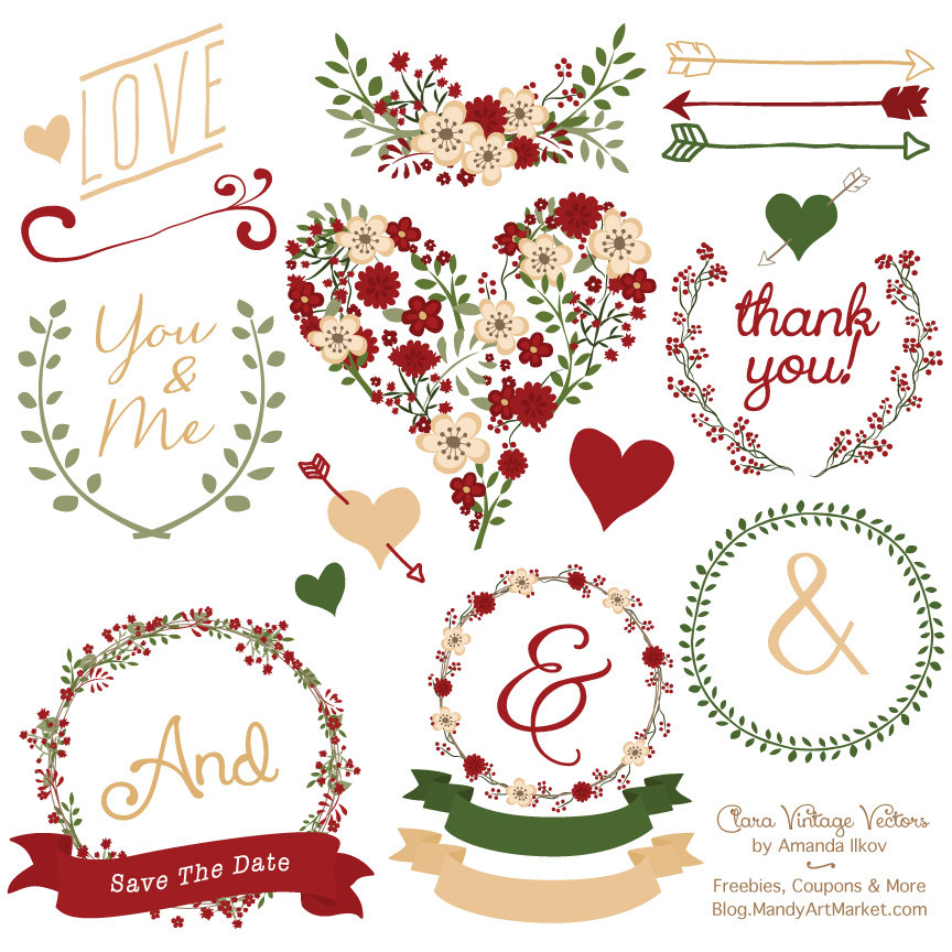 Floral Heart Clipart in Christmas   Mandy Art Market.