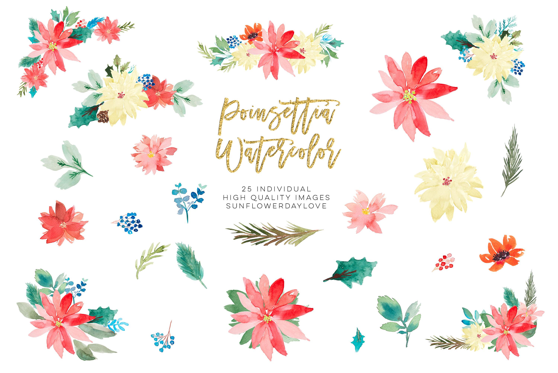 Poinsettia clipart, Christmas Wedding Invitation clipart By.